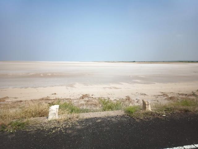 Salt lake water of Rann of Kutch viewed from side of road