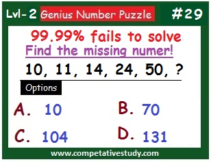Number Puzzle: Find the missing number: 10, 11, 14, 24, 50, ?