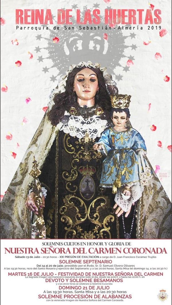 Cartel de los cultos de la Hermandad de Nuestra Señora del Carmen Coronada, Reina de las Huertas