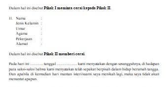 Contoh Format Surat Pernyataan Cerai Dalam Word Dadang Jsn