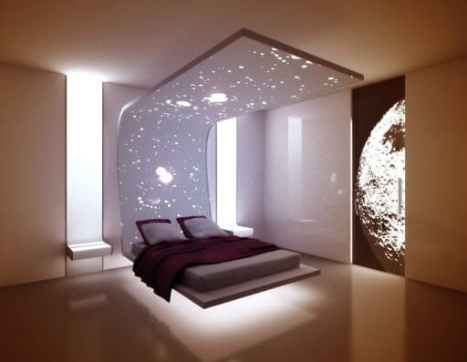 Floating bed with led