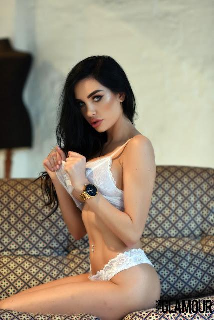 Ann Denise White Lingerie pulling bra sexy hot look