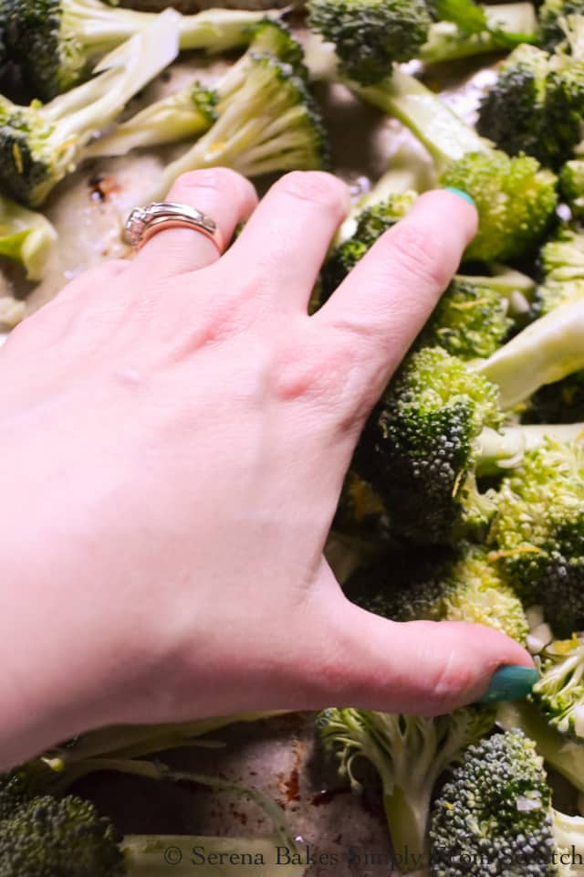 Toss broccoli with lemon zest, garlic, salt and pepper and roast at 450 degrees.