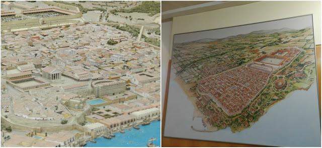 Conjunto Arqueológico de Tarraco - maquete e mapa da antiga Tarragona