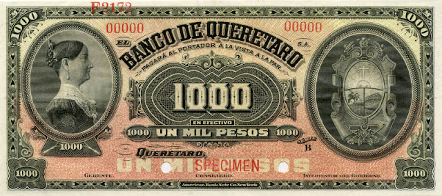 1000 Mexican Pesos currency money banknotes bill