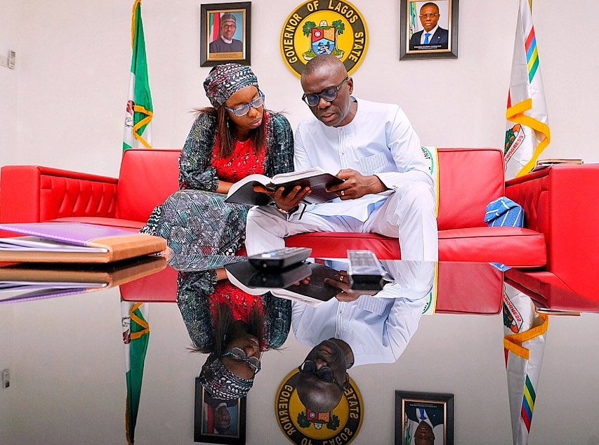 Babajide Olusola Sanwo-Olu Governor of Lagos State and his worshipped online for Easter, praying for his family, Lagos and Nigeria