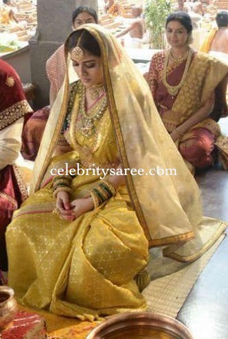 Nayantara Gold Color Oraganza Saree
