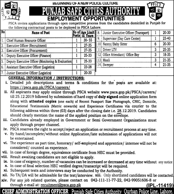 PSCA Jobs 2019 Punjab Police Punjab Safe Cities Authority