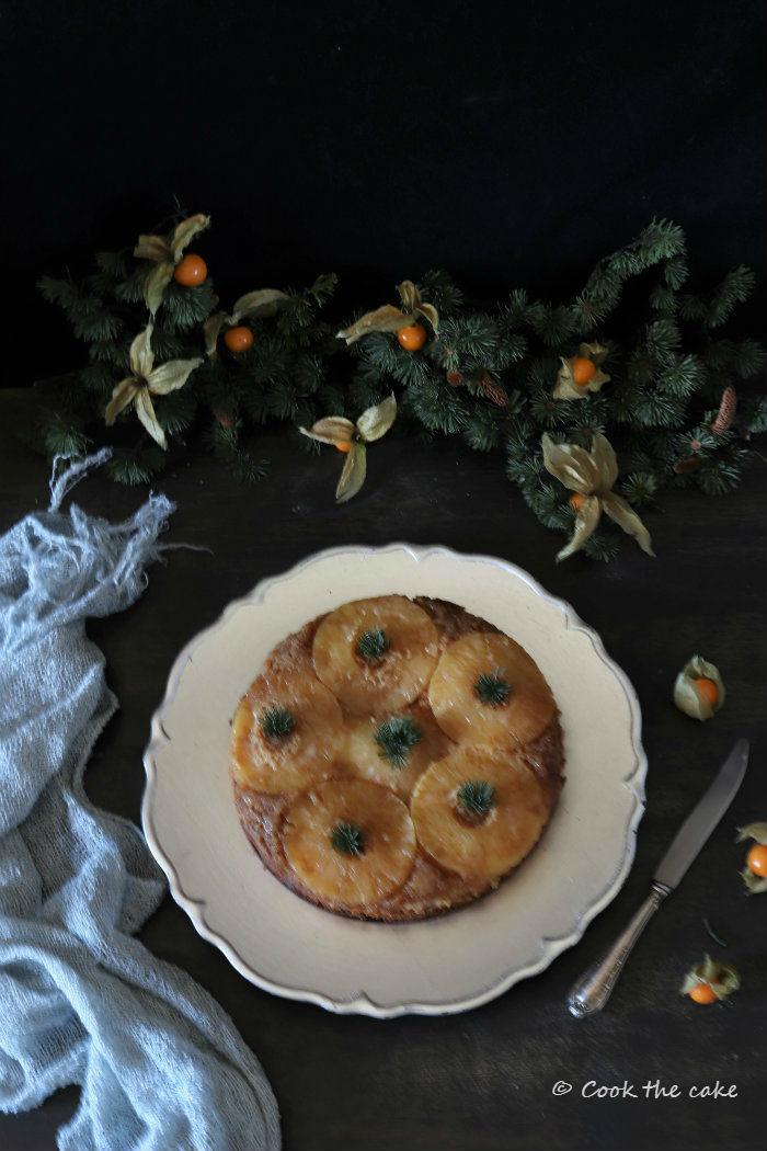 pineapple-upside-down-cake, bizcocho-de-piña-y-champan, christmas-cake, bizcocho-de-navidad