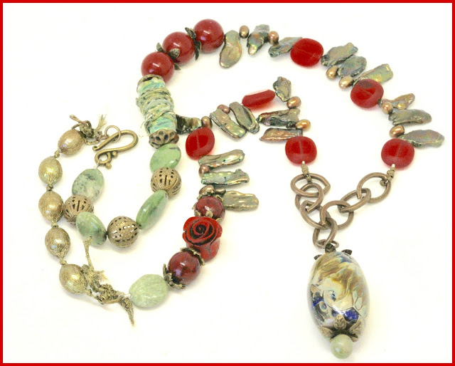 olive green and red art necklace by BayMoonDesign