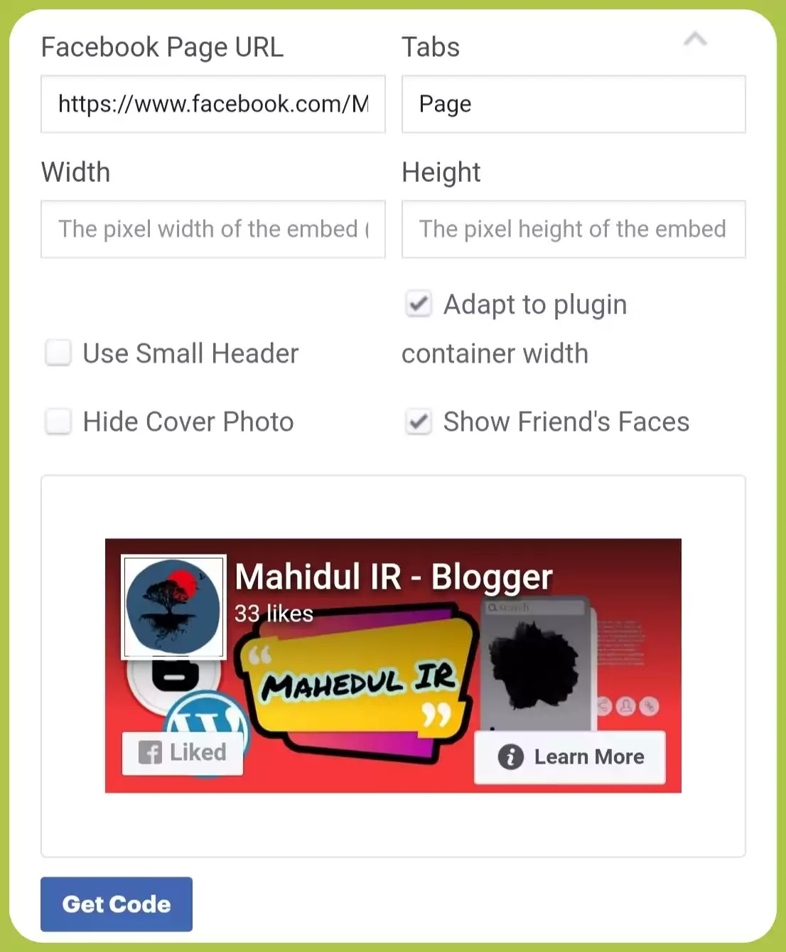 Facebook page HTML code for Blogger