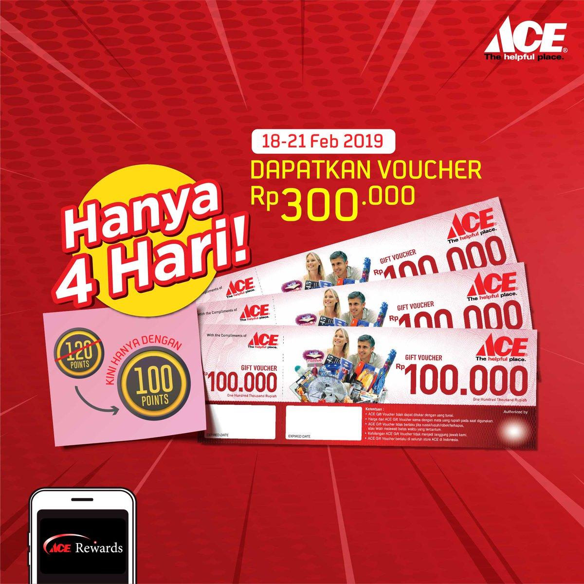 #AceHardware - #Promo Tukar 100 Poin Reward & Dapatkan Voucher 300 K (s.d 21 Feb 2019)