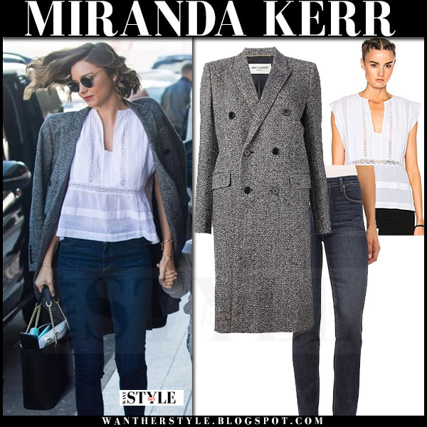 Miranda Kerr in grey coat, white lace isabel marant rodge top and skinny jeans what she wore streetstyle