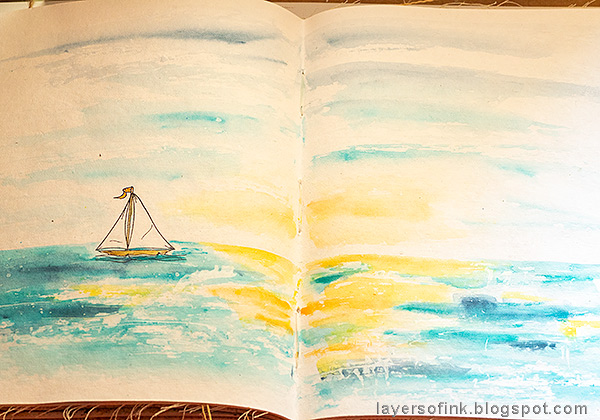 Layers of ink - Ocean Art Journal Page Tutorial by Anna-Karin Evaldsson.