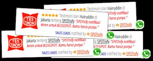 SPOTnify notifikasi testimonial