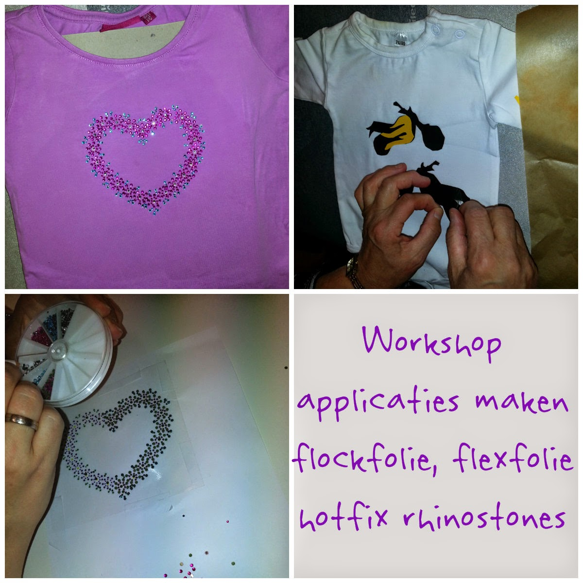 workshop applicaties maken van flexfolie, flockfolie en hotfix rhinostones