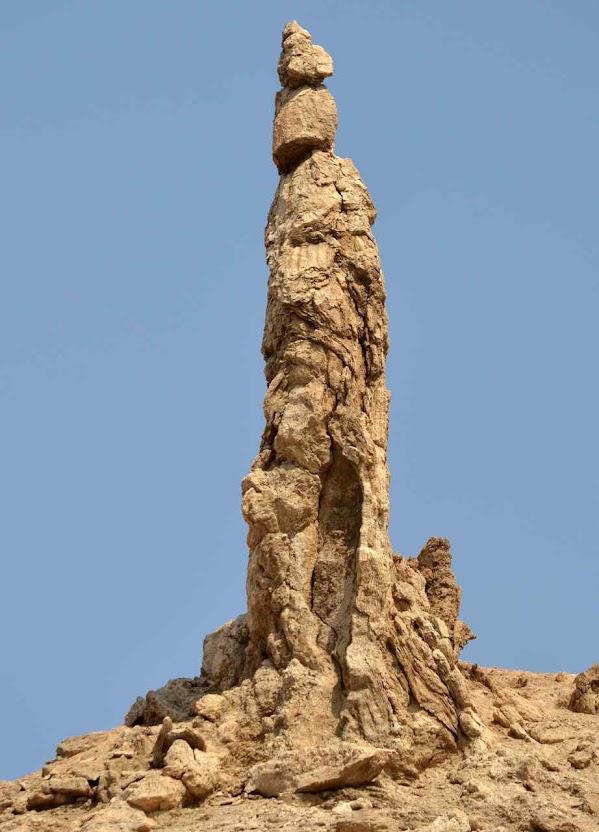 Coluna de sal chamada 'mulher de Ló' perto do Mar Morto.