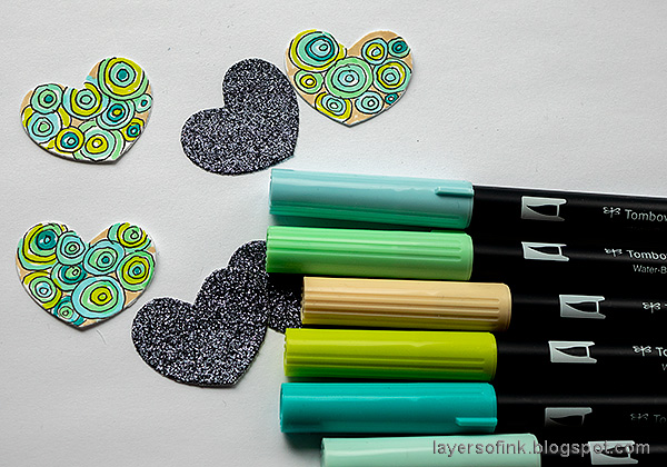 Layers of ink - Doodle Tag Tutorial by Anna-Karin Evaldsson. Color with Tombow Markers.