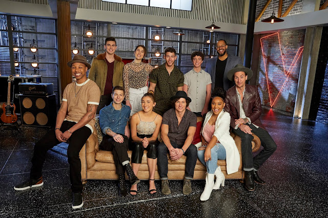 The Voice's Team Nick: Pictured: (l-r) Samuel Wilco, Michael Williams, Jacob Miller, Joana Serenko, Allegra Miles, Nick Jonas, Kevin Farris, Tate Brusa, Arei Moon, Roderick Chambers, Anders Derup (Photo by: Trae Patton/NBC)