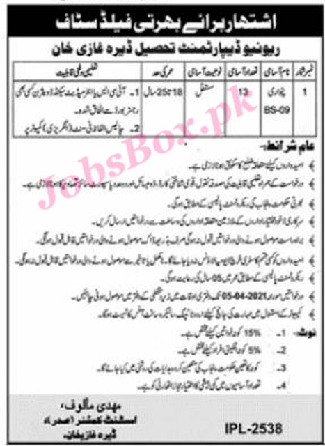 revenue-department-dera-ghazi-khan-patwari-jobs-2021