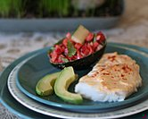 Easy Baked Fish with Red Pepper & Cucumber Salad