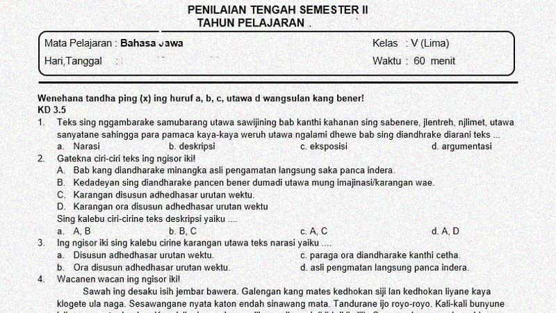 Soal PTS atau  UTS Bahasa Jawa K-13 Kelas 5 Semester 2