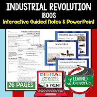 Industrial Revolution, American History Guided Notes, American History Interactive Notebook, Google and Print, American History Note Taking, American History PowerPoints, American History Anticipatory Guides