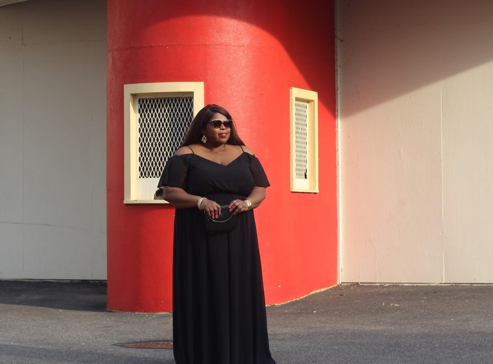 plus size bardot maxi dress