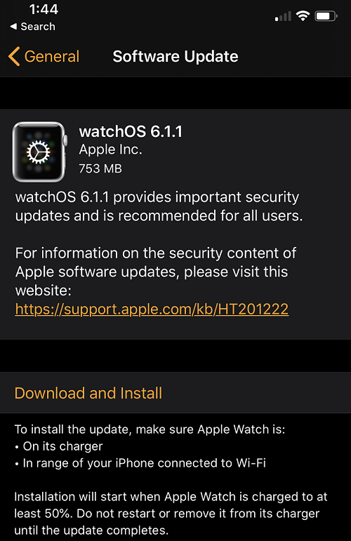 watchOS 6.1.1 Features Changelog