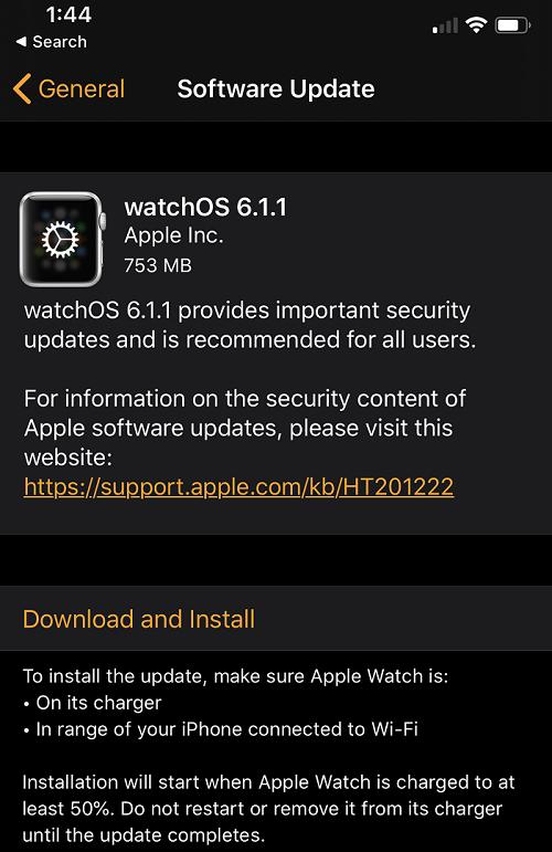 watchOS 6.1.1 Features Changelog