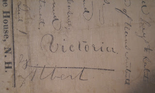 A close-up from a page of handwritten text, showing the name Victoria.