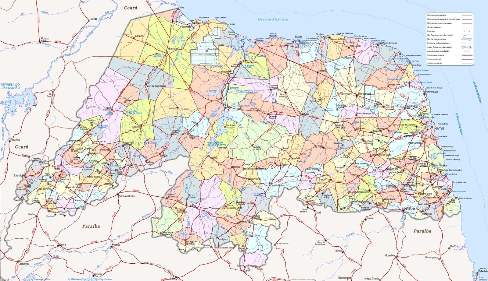 Mapa do Rio Grande do Norte