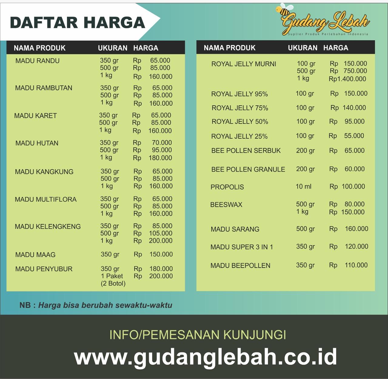 DAFTAR HARGA PRODUK LEBAH INDONESIA - GUDANG LEBAH