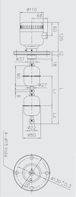 Dimensions of JRS parker float level switch