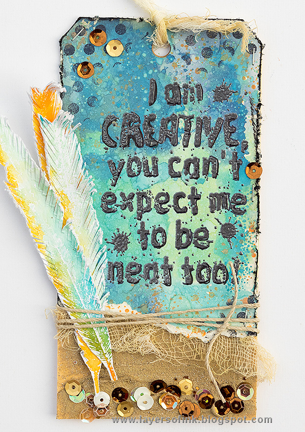 Layers of ink - I am Creative Tag by Anna-Karin Evaldsson with stamps by Darkroom Door