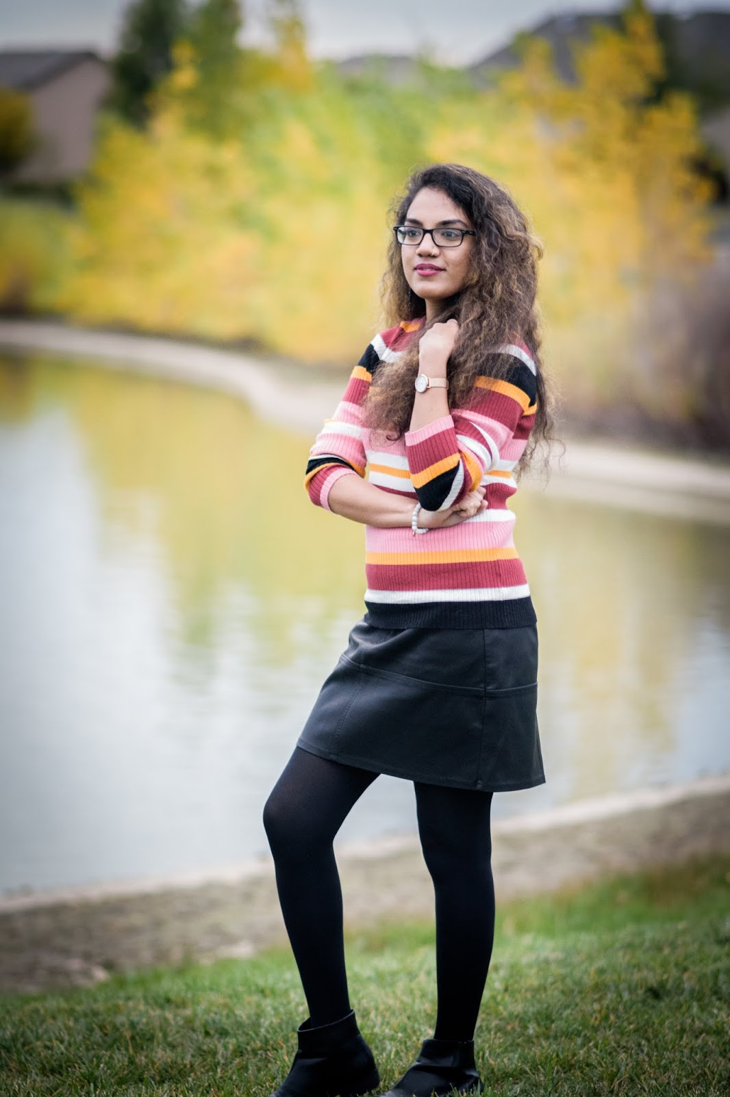Welcoming Fall; Aim for Glam; Prasanthi Kadiyala; Denver Blogger; Forever21; Fall Fashion; Faux Leather Skirt; New Look; Colorado