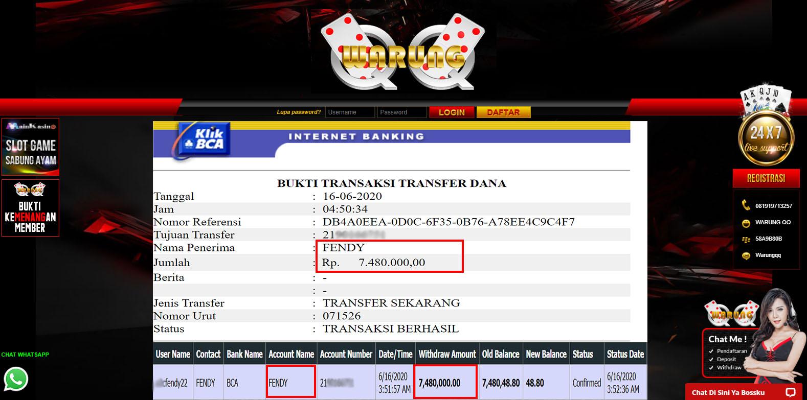 Selamat Kepada Member Setia WARUNGQQ Withdraw RP 7.480.000