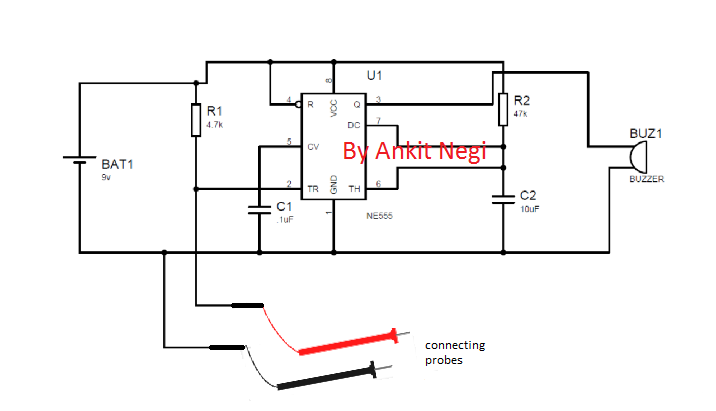 continuity tester circuit using ic 555