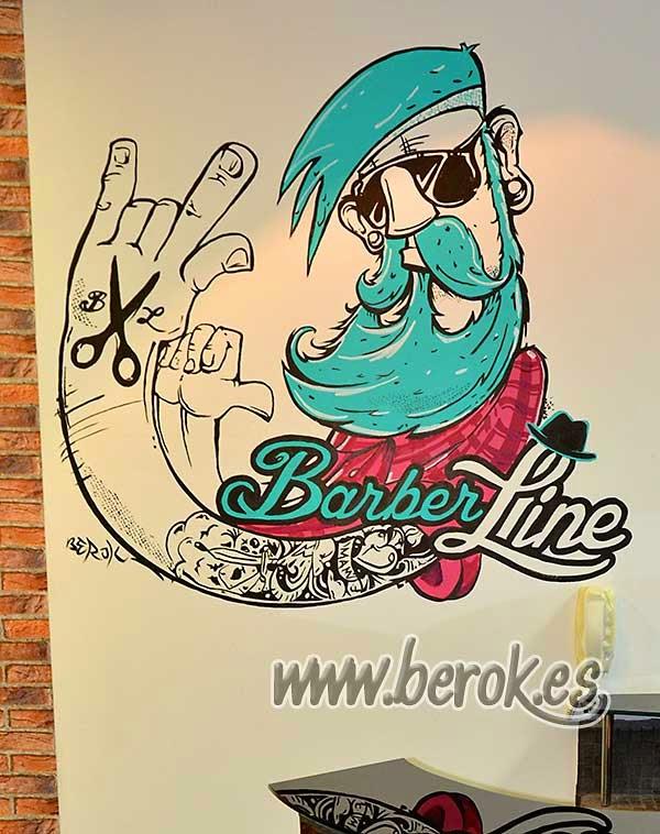 Decoración graffiti mural ilustración del logo de Barber line
