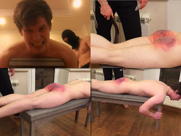 #RusStraightGuys - Extreme first time belt spanking for Max 21 y.o.