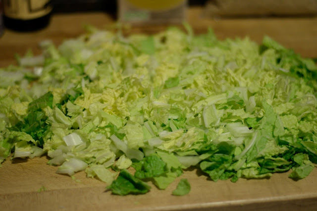 The Napa cabbage, cut up into bite-sized pieces.