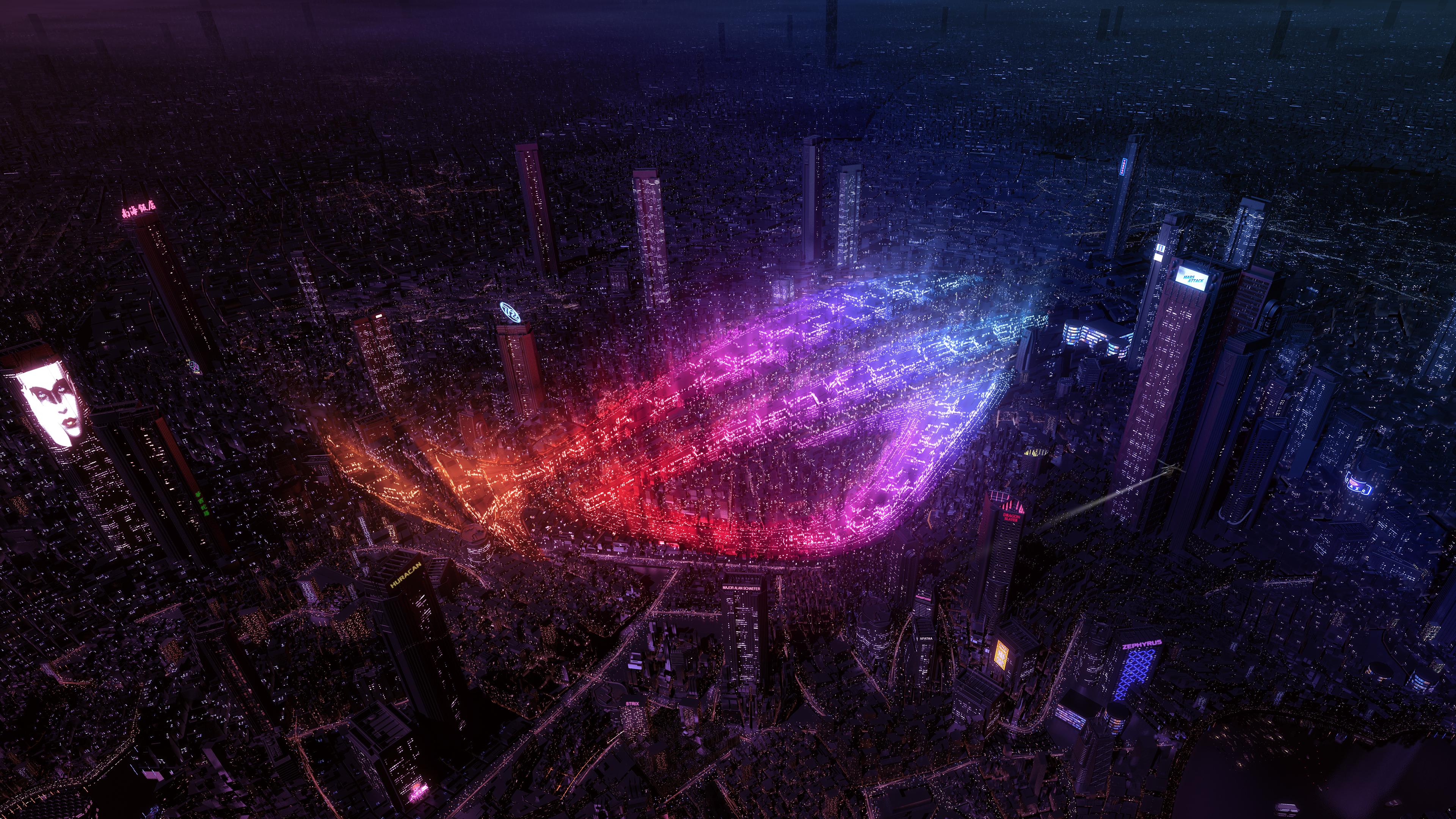 ASUS ROG, Republic of Gamers, City Lights, 4K, Creative Graphics