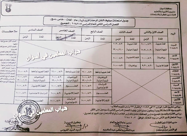 جداول امتحانات الشهادة الابتدائية الترم الثانى بمحافظة اسوان 2018 الفصل الدراسى الثانى أخر العام