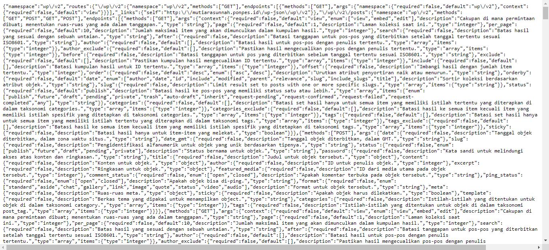 Tampilan data JSON