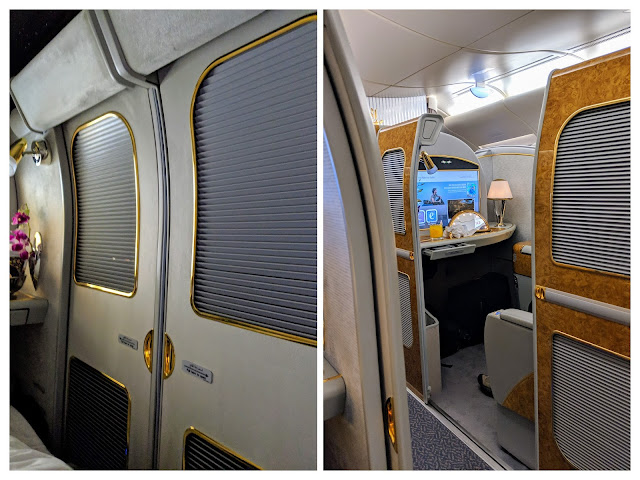 Emirates First Class Review: Closing the sliding door for complete privacy in the Emirates First Class Private Suite