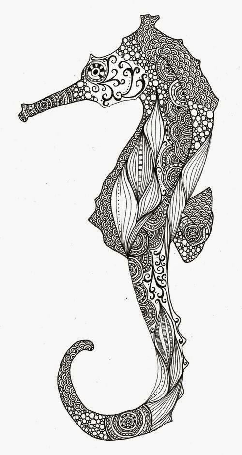 Seahorse mehndi design tattoo stencil