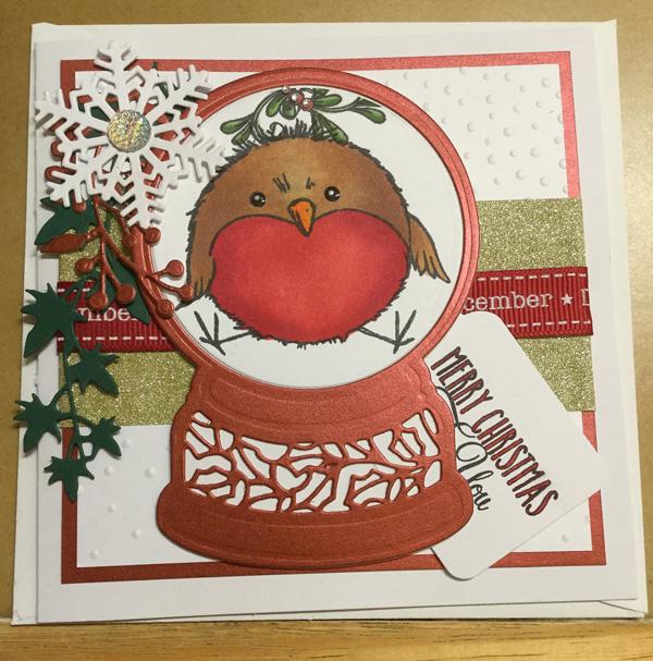 Robin in Globe Christmas card 2017