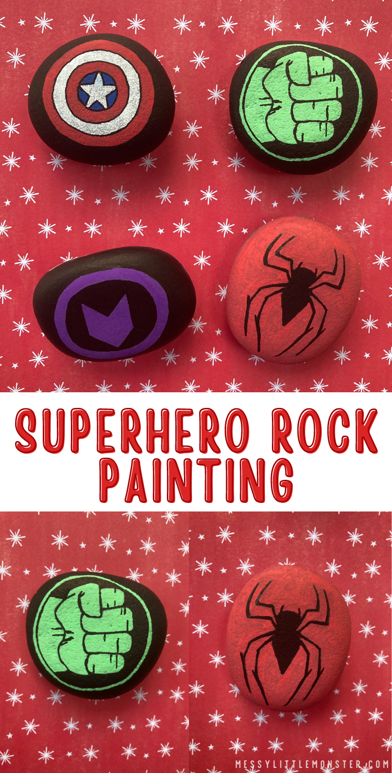 Superhero rock painting ideas. Superhero craft for kids.