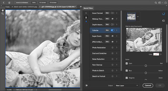 Chọn mục Colorize để tiến hành chỉnh màu bức ảnh