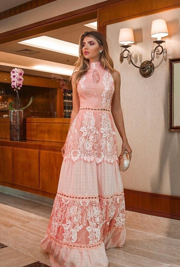 vestido de festa longo rose rendado